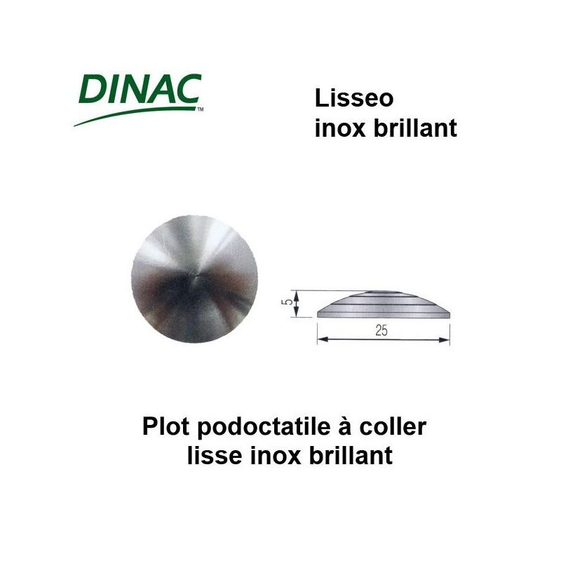Plots podotactiles Lisseo inox brillant Ø 25 mm à coller