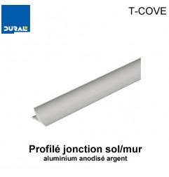Profilé jonction sol/mur T-COVE aluminium anodisé argent 12 mm