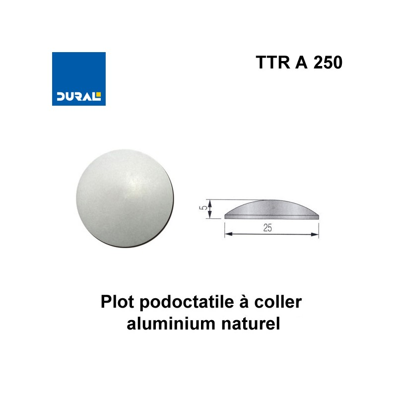 Plots podotactiles aluminium naturel lisse Ø 25 mm à coller