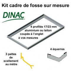Kit cadre de fosse à sceller aluminium anodisé naturel 23 mm 1130 x 700 mm