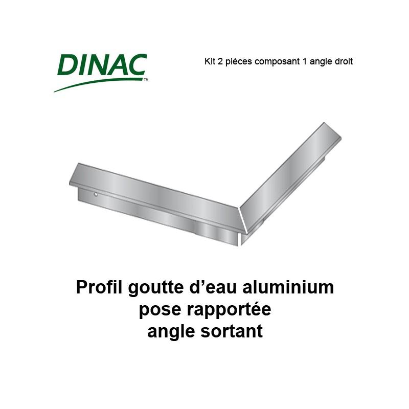 Angle sortant pour profil aluminium goutte d'eau pose rapportée