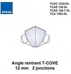 Angle rentrant T-COVE 12 mm 2 jonctions aluminium argent brillant Sachet 2 pièces