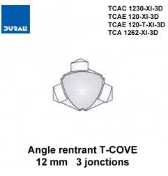 Angle rentrant T-COVE 12 mm 3 jonctions aluminium argent brillant Sachet 2 pièces