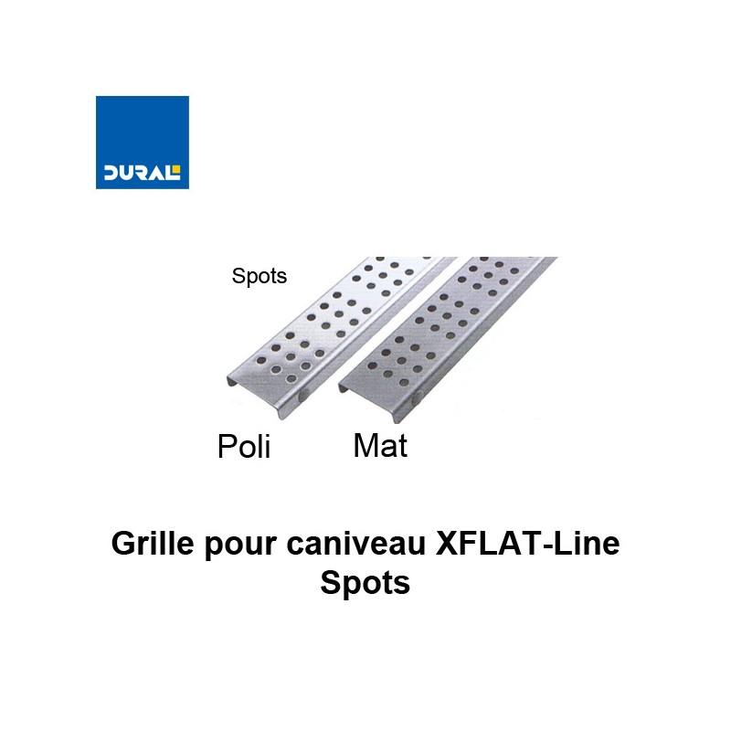 """Grille """"Spots"""" inox 304 poli pour caniveau XFLAT-LINE 55 cm"""
