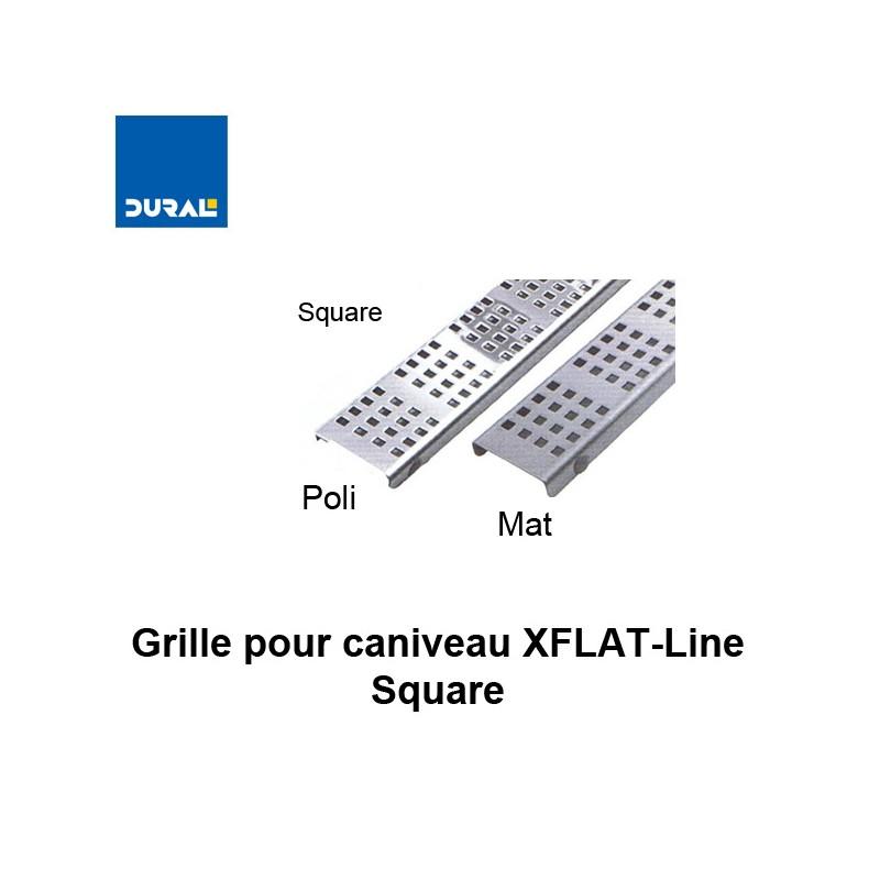 """Grille """"Square"""" inox 304 poli pour caniveau XFLAT-LINE 55 cm"""