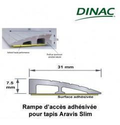 Rampe d' accès adhésive 7 mm aluminium anodisé naturel pour tapis Slim longueur 300 cm