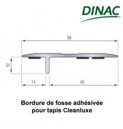 Bordure de fosse aluminium anodisé champagne adhésivée pour tapis Cleanluxe