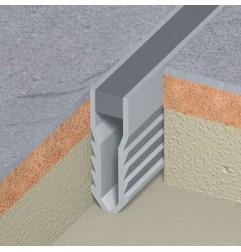 Joint de fractionnement PVC gris à encastrer pour pose scellée. Hauteur 50 mm